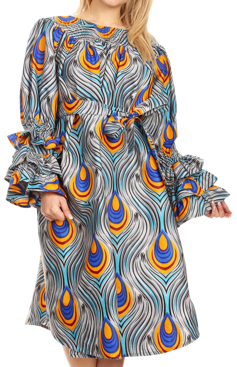 Sakkas Marta Women's Long Sleeve Off Shoulder Cocktail African Dashiki Midi Dress