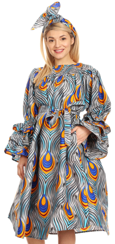 group-133-GrayBlue (Sakkas Marta Women's Long Sleeve Off Shoulder Cocktail African Dashiki Midi Dress)