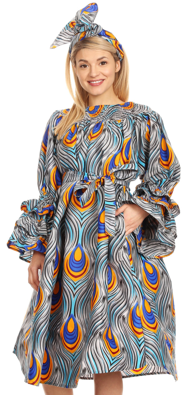Sakkas Marta Women's Long Sleeve Off Shoulder Cocktail African Dashiki Midi Dress#color_133-GrayBlue