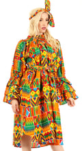 Sakkas Marta Women's Long Sleeve Off Shoulder Cocktail African Dashiki Midi Dress#color_43-Multi