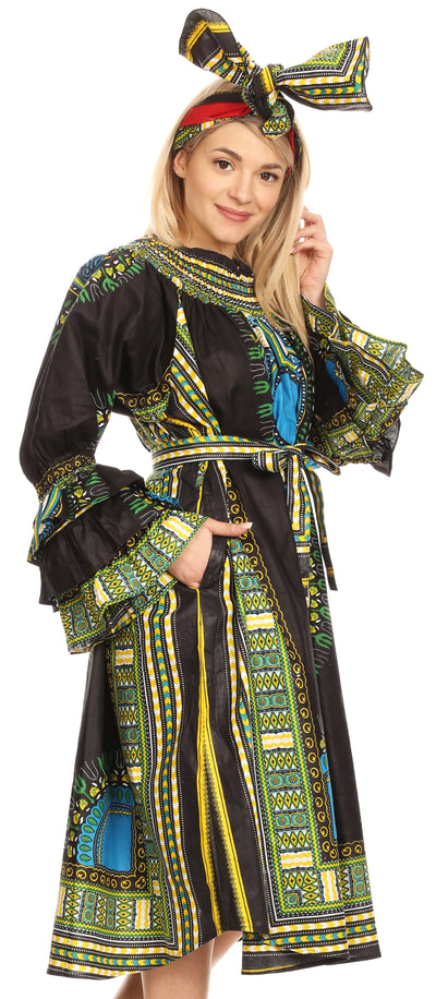 group-Black (Sakkas Marta Women's Long Sleeve Off Shoulder Cocktail African Dashiki Midi Dress)