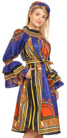 group-Blue (Sakkas Marta Women's Long Sleeve Off Shoulder Cocktail African Dashiki Midi Dress)