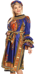 Sakkas Marta Women's Long Sleeve Off Shoulder Cocktail African Dashiki Midi Dress#color_Blue