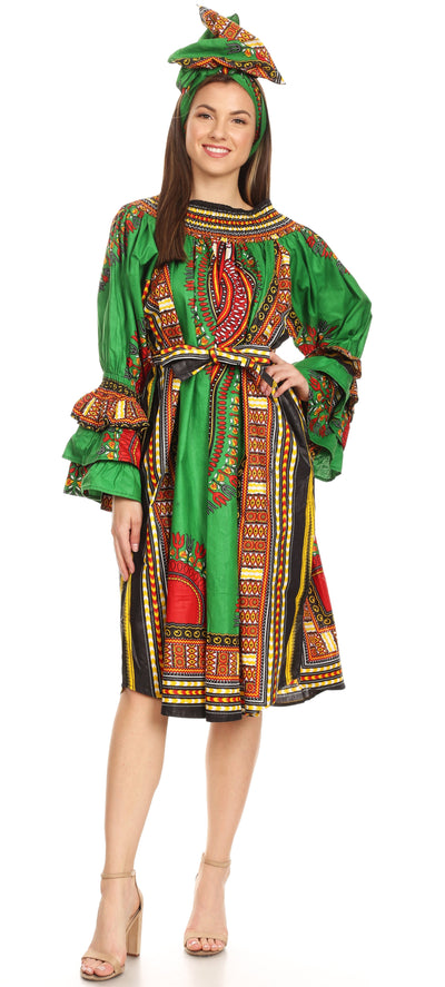 group-Green (Sakkas Marta Women's Long Sleeve Off Shoulder Cocktail African Dashiki Midi Dress)