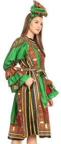 Sakkas Marta Women's Long Sleeve Off Shoulder Cocktail African Dashiki Midi Dress#color_Green