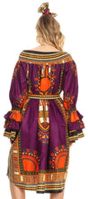group-Purple (Sakkas Marta Women's Long Sleeve Off Shoulder Cocktail African Dashiki Midi Dress)
