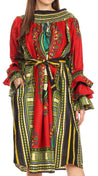 group-Red (Sakkas Marta Women's Long Sleeve Off Shoulder Cocktail African Dashiki Midi Dress)