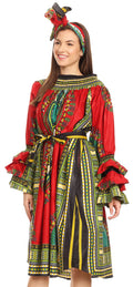 Sakkas Marta Women's Long Sleeve Off Shoulder Cocktail African Dashiki Midi Dress#color_Red