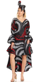 Sakkas Betty Women's Maxi African Ankara Print High-low Wrap Dress Long Sleeve
