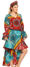 Sakkas Betty Women's Maxi African Ankara Print High-low Wrap Dress Long Sleeve#color_35-Multi