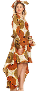Sakkas Betty Women's Maxi African Ankara Print High-low Wrap Dress Long Sleeve#color_36-OrangeWhite