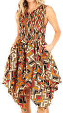 Sakkas Lima Women's Casual African Ankara Sleeveless Cocktail Short Dress Pockets