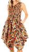 Sakkas Lima Women's Casual African Ankara Sleeveless Cocktail Short Dress Pockets#color_27-Multi