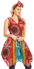 Sakkas Vale Womens African Ankara Sleeveless Short Cocktail Wrap Dress with Pocket#color_35-Multi