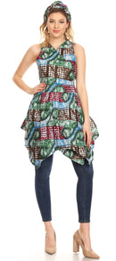 Sakkas Vale Womens African Ankara Sleeveless Short Cocktail Wrap Dress with Pocket
