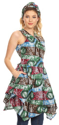 Sakkas Vale Womens African Ankara Sleeveless Short Cocktail Wrap Dress with Pocket#color_37-Multicolor