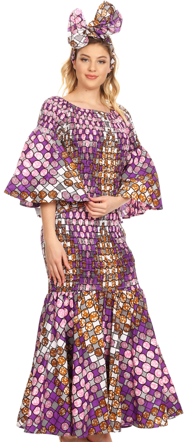 Sakkas Zarah Women's African Ankara Body-con Off shoulder Mermaid Pocket Dress #color_2261-39-WhiteMulti