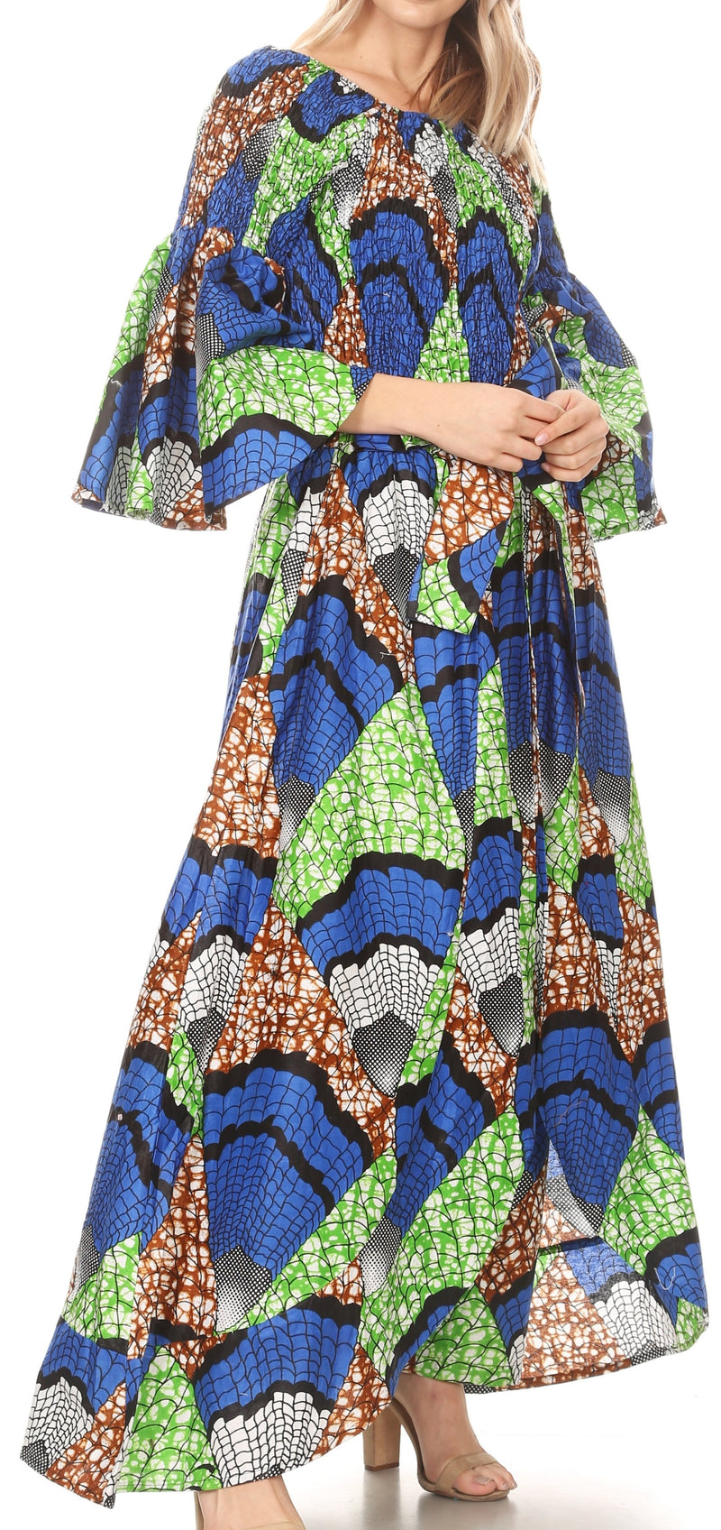 Sakkas Tesa Women's Off the Shoulder Top Pants Set African Ankara Print w/Pockets