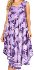 Sakkas Mara Women's Casual Sleeveless Tank Flare Midi Boho Batik Dress Cover-up#color_2301-Purple