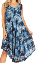 Sakkas Mara Women's Casual Sleeveless Tank Flare Midi Boho Batik Dress Cover-up#color_2301-Navy