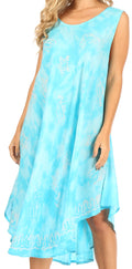 Sakkas Mara Women's Casual Sleeveless Tank Flare Midi Boho Batik Dress Cover-up#color_2301-Turq