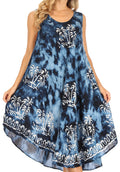Sakkas Mara Women's Casual Sleeveless Tank Flare Midi Boho Batik Dress Cover-up#color_2302-Navy