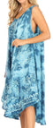 Sakkas Mara Women's Casual Sleeveless Tank Flare Midi Boho Batik Dress Cover-up