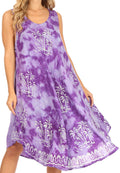Sakkas Mara Women's Casual Sleeveless Tank Flare Midi Boho Batik Dress Cover-up#color_2302-Purple
