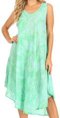 Sakkas Mara Women's Casual Sleeveless Tank Flare Midi Boho Batik Dress Cover-up#color_2302-SeaGreen