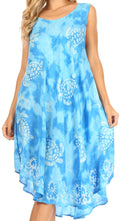 Sakkas Mara Women's Casual Sleeveless Tank Flare Midi Boho Batik Dress Cover-up#color_Blue