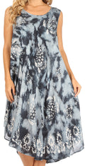 Sakkas Mara Women's Casual Sleeveless Tank Flare Midi Boho Batik Dress Cover-up#color_Grey