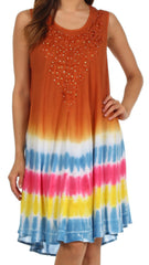 Sakkas Multi-Color Tie Dye Tank Dress / Cover Up