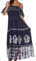 Sakkas Fleur De Lis Batik Jacquard Off Shoulder Crepe Hem Dress - FINAL SALE