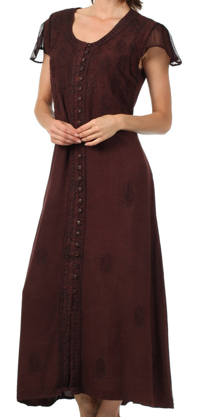 Sakkas Stonewashed Embroidered Cap Sleeve Maxi Long Dress