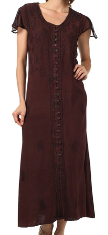Sakkas Stonewashed Embroidered Cap Sleeve Maxi Long Dress - FINAL SALE