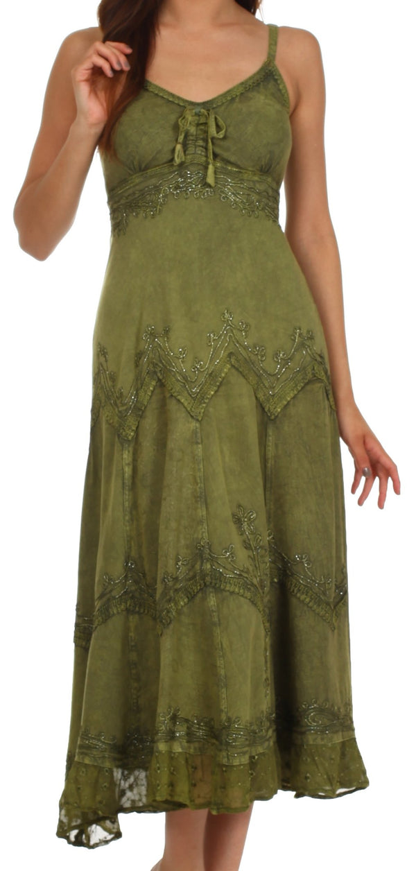 Sakkas Stonewashed Rayon Embroidered Adjustable Spaghetti Straps Long Dress#color_Army Green