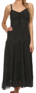 Sakkas Stonewashed Rayon Embroidered Adjustable Spaghetti Straps Long Dress#color_Black