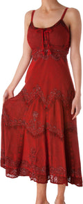 Sakkas Stonewashed Rayon Embroidered Adjustable Spaghetti Straps Long Dress#color_Red