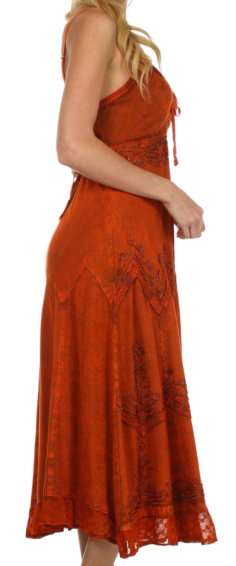 Sakkas Stonewashed Rayon Embroidered Adjustable Spaghetti Straps Long Dress