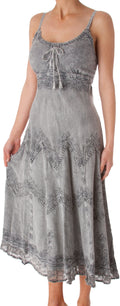 Sakkas Stonewashed Rayon Embroidered Adjustable Spaghetti Straps Long Dress#color_Gray