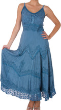 Sakkas Stonewashed Rayon Embroidered Adjustable Spaghetti Straps Long Dress#color_Grey / Blue