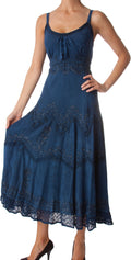 Sakkas Stonewashed Rayon Embroidered Adjustable Spaghetti Straps Long Dress#color_Navy