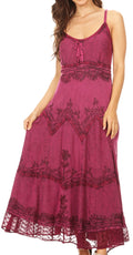 Sakkas Stonewashed Rayon Embroidered Adjustable Spaghetti Straps Long Dress#color_Orchid
