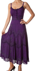 Sakkas Stonewashed Rayon Embroidered Adjustable Spaghetti Straps Long Dress#color_Purple