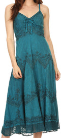 Sakkas Stonewashed Rayon Embroidered Adjustable Spaghetti Straps Long Dress#color_Steel Blue