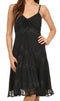 Sakkas Stonewashed Rayon Adjustable Spaghetti Straps Mid Length Dress#color_Black