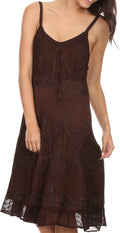 Sakkas Stonewashed Rayon Adjustable Spaghetti Straps Mid Length Dress#color_Chocolate