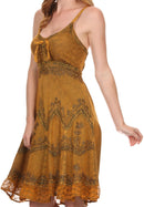 Sakkas Stonewashed Rayon Adjustable Spaghetti Straps Mid Length Dress