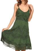 Sakkas Stonewashed Rayon Adjustable Spaghetti Straps Mid Length Dress#color_Dark Green