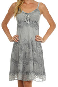 Sakkas Stonewashed Rayon Adjustable Spaghetti Straps Mid Length Dress#color_Grey